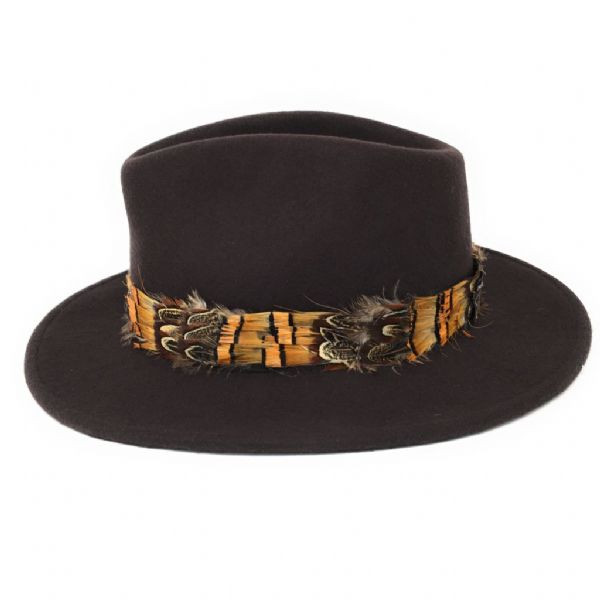 Womens Showerproof Wool Brown Fedora Hat with Country Feather Wrap Trim - Mickleton